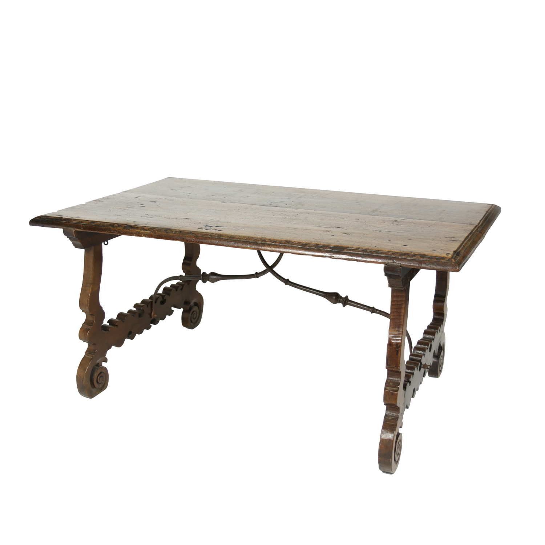 Garden Court Antiques, San Francisco   Spanish Walnut Trestle Table, Circa  1880.
