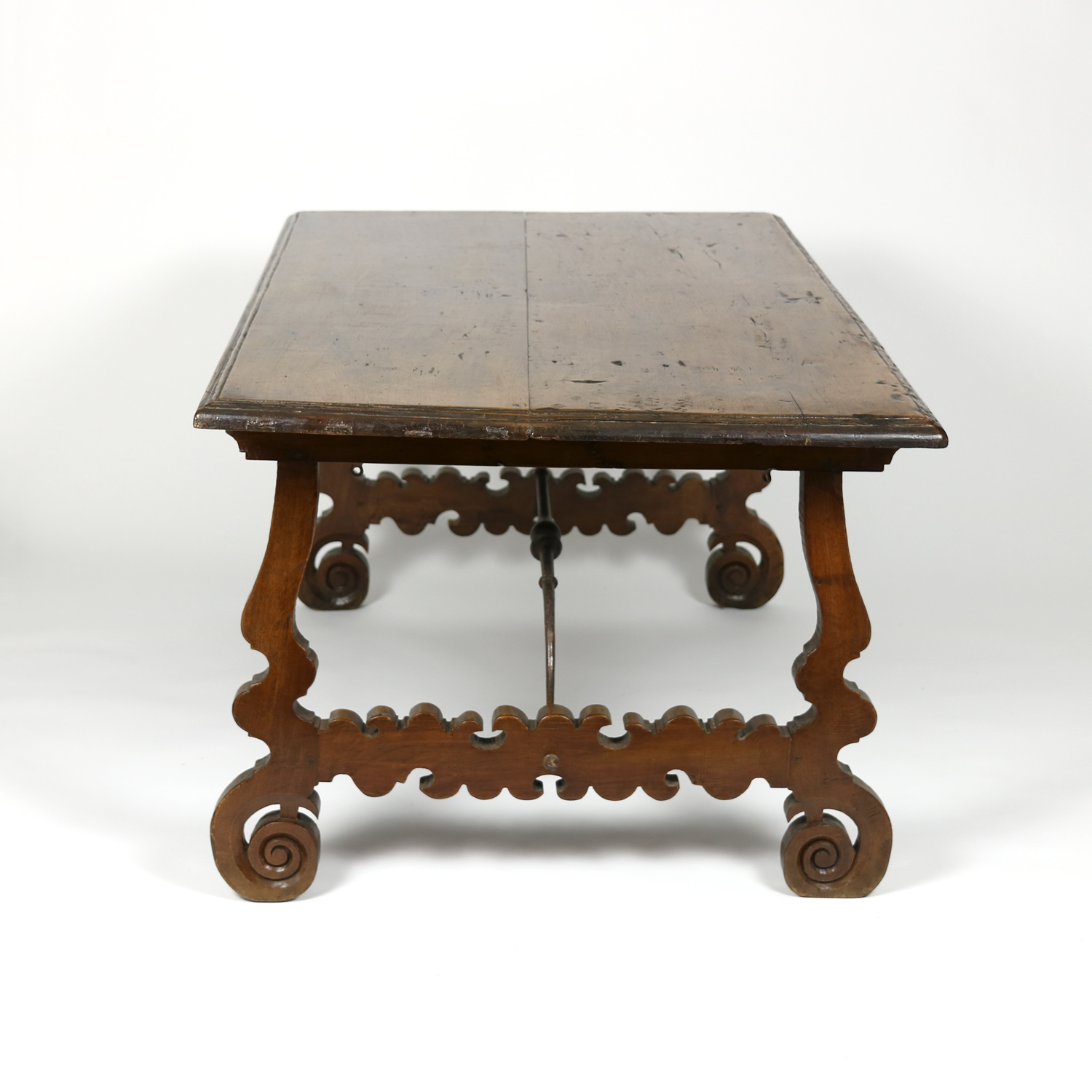 Garden Court Antiques, San Francisco   Spanish Walnut Trestle Table, Circa  1880.