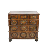 Garden Court Antiques, San Francisco -William and Mary Period Geometric Moulded Oak Chest of Drawers; English circa 1690.