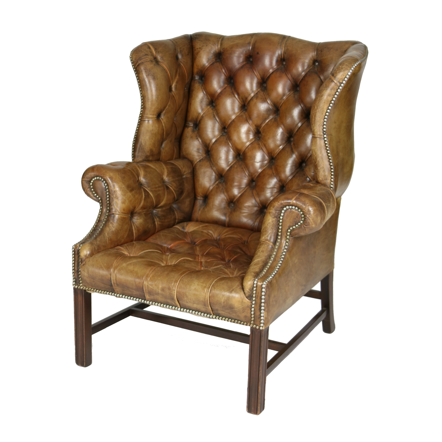 Garden Court Antiques, San Francisco -An Elegant Brown Tufted Leather and  Mahogany Wing Chair - Brown Tufted Leather English 19th C. Wingback Chair. Ph (415) 355-1690