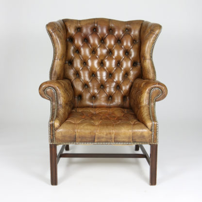 Garden Court Antiques, San Francisco  An Elegant Brown Tufted Leather And  Mahogany Wing Chair