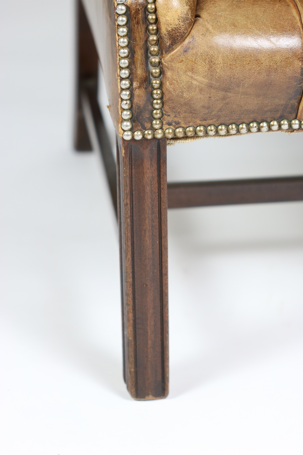 garden court antiques san francisco an elegant brown tufted leather and mahogany wing chair