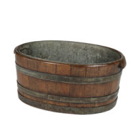 Garden Court Antiques, San Francisco -Oval Metal Bound Chestnut Planter with Zinc Liner, English Circa 1850