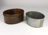 Garden Court Antiques, San Francisco -Oval Metal Bound Chestnut Planter with Zinc Liner, English Circa 1850