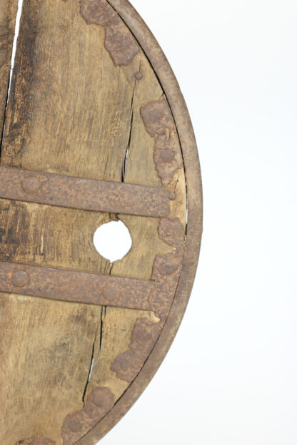 Garden Court Antiques, San Francisco -Oak And Iron Wheel, Circa 1700 On Later Iron Stand