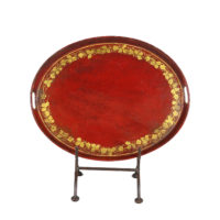 Garden Court Antiques, San Francisco -Oval Red Tole Serving Tray with Gilded Vine Motif Border, English Circa 1880