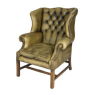 Mahogany and Original Tufted Green Leather Wing Chair, English Circa 1880