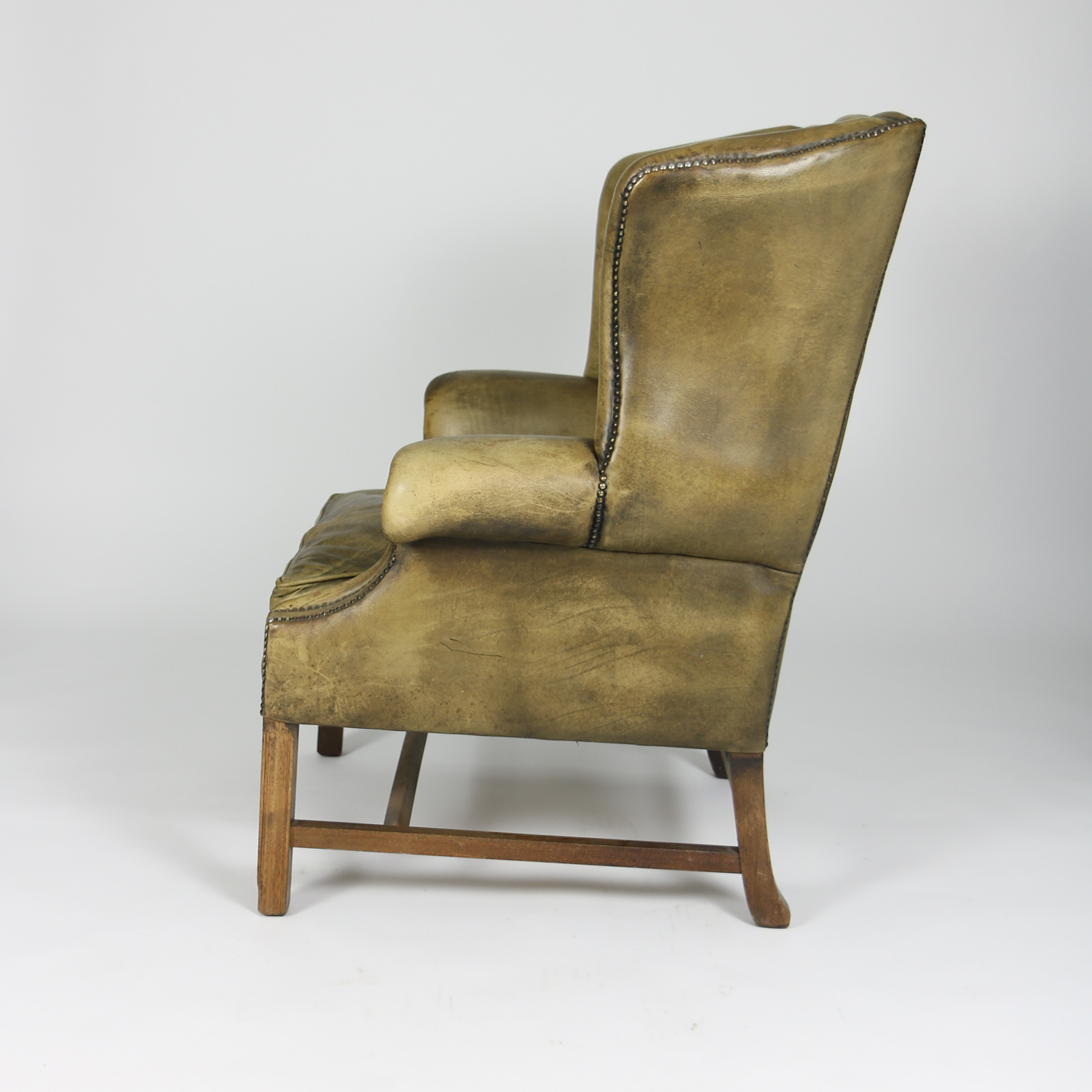 garden court antiques san francisco handsome mahogany and original tufted green leather wing chair