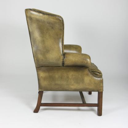 Garden Court Antiques, San Francisco -Handsome Mahogany and Original Tufted Green Leather Wing Chair, English Circa 1880