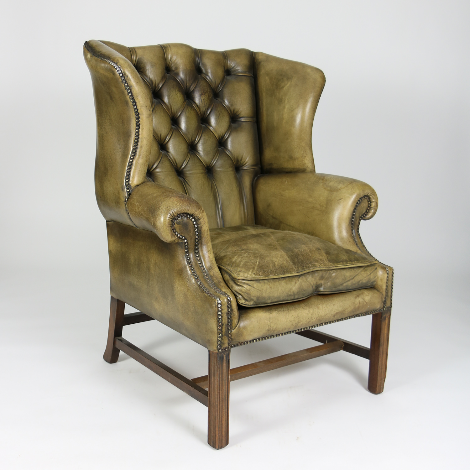 Tufted Green Leather Wingback Chair Ph 415 355 1690