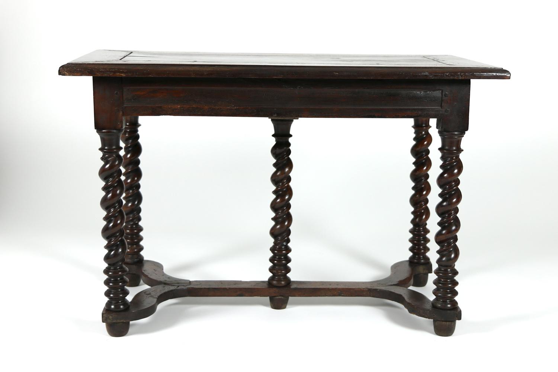 French baroque period bureau plat with barley twist legs