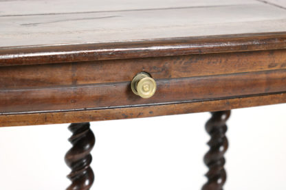 Garden Court Antiques, San Francisco -French Baroque Period Walnut Single Drawer Bureau Plat With Carved Double Barley Twist Legs Circa 1680