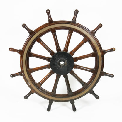 Garden Court Antiques, San Francisco - Very Large Scale Mahogany, Iron and Brass Ship's Wheel, English, Circa 1900