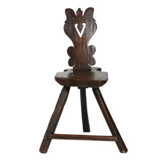 Garden Court Antiques, San Francisco -A Rustic Carved Oak Tyrolean Three Legged Chair; Austria Circa 1680