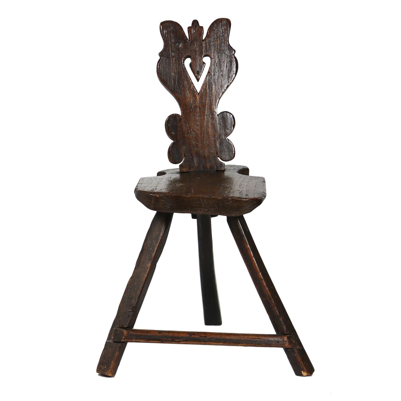 Garden Court Antiques, San Francisco -A Rustic Carved Oak Tyrolean Three  Legged Chair; - Primitive 3-legged Chair 415 355-1690