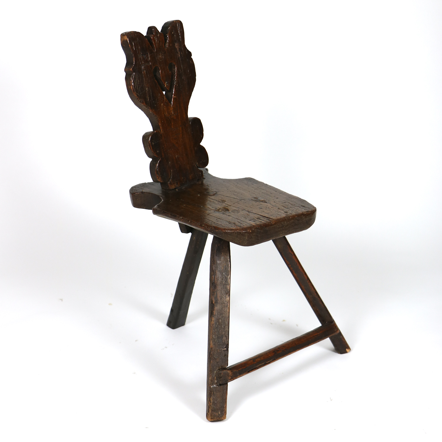 Garden Court Antiques, San Francisco -A Rustic Carved Oak Tyrolean Three  Legged Chair; - Primitive 3-legged Chair 415 355-1690