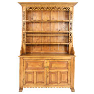 Irish Pine Dresser with Open Plate Rack and Celtic Knot Carving; Circa 1870