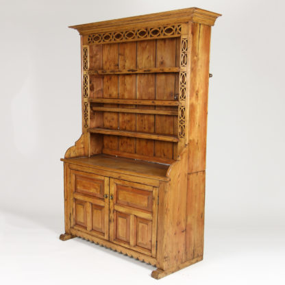 Garden Court Antiques, San Francisco - Irish Pine Dresser with Open Plate Rack and Celtic Knot Carving; Circa 1870