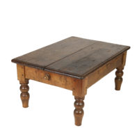 Garden Court Antiques, San Francisco -Rustic English Pine Low Table, Faux Drawers On Both Ends, Bulbous Turned Legs; Circa 1880