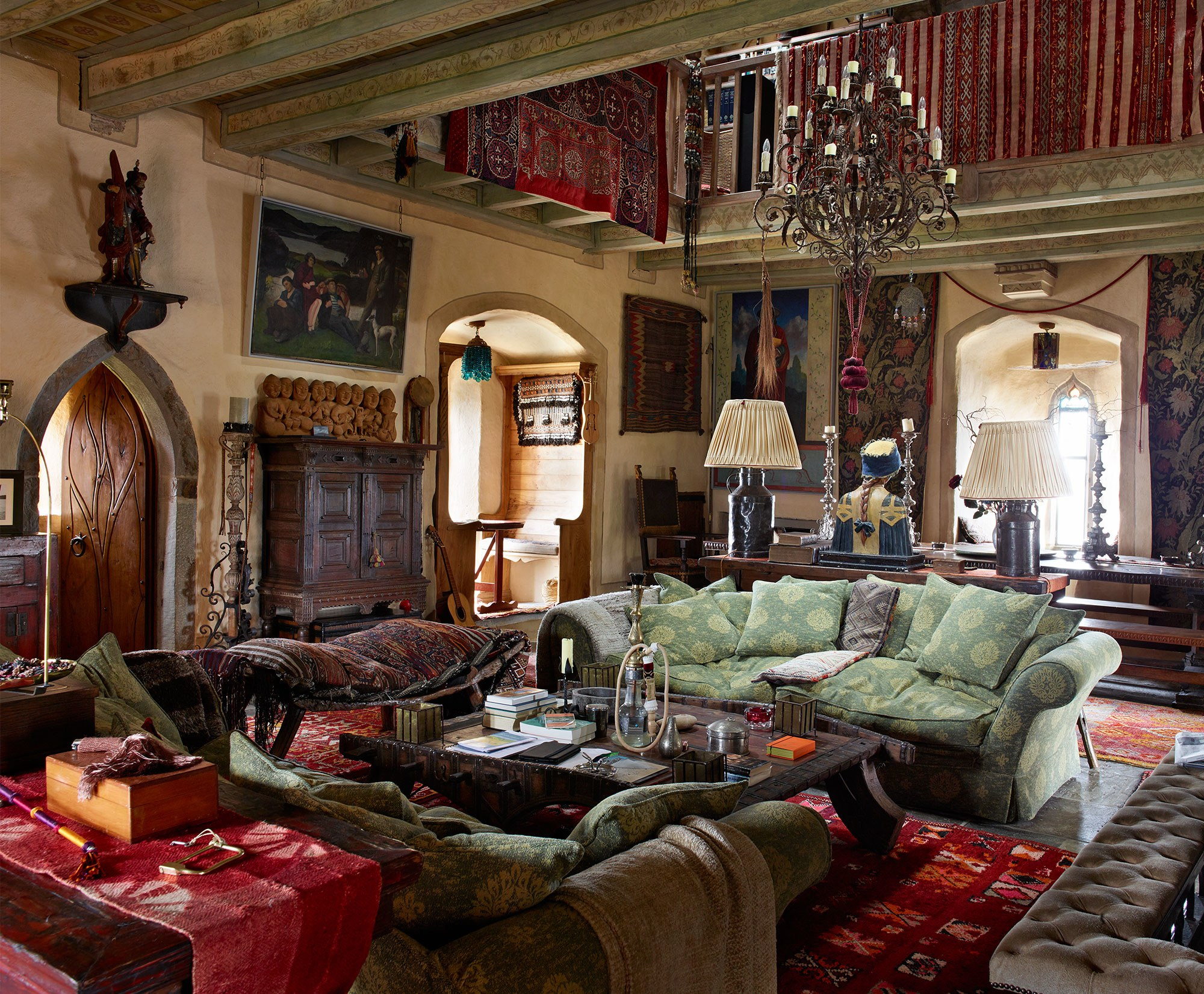 "Kilcoe's main living area, known as the ""solar,"" showcases art and collectibles acquired by Irons in his travels. Photograph by Simon Upton."