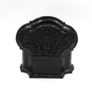 Garden Court Antiques, San Francisco - Solid Ebony Anglo-Indian Box of Scallop shape with Impressively Detailed Carvings, Mid 19th Century.