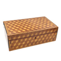 Garden Court Antiques, San Francisco - Very Large Marquetry Box with Impressive Tumbling Block inlay, Early 19th Century.