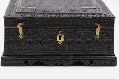 Garden Court Antiques, San Francisco - Ornately Carved Anglo-Indian Solid Ebony Box With Concealed Mirror, Mid 19th Century