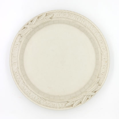 Garden Court Antiques, San Francisco -Simple & Elegant, Round White Ceramic Bread Plate with The Lord's Prayer, 19th Century