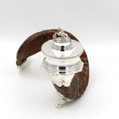 Garden Court Antiques, San Francisco -Scottish Ram's Horn And Silver Snuff Mull, Scotland Circa 1900