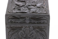 Garden Court Antiques, San Francisco - Solid Ebony Carved Box With Floral And Acanthus Carving On All Sides, Mid 19th Century.