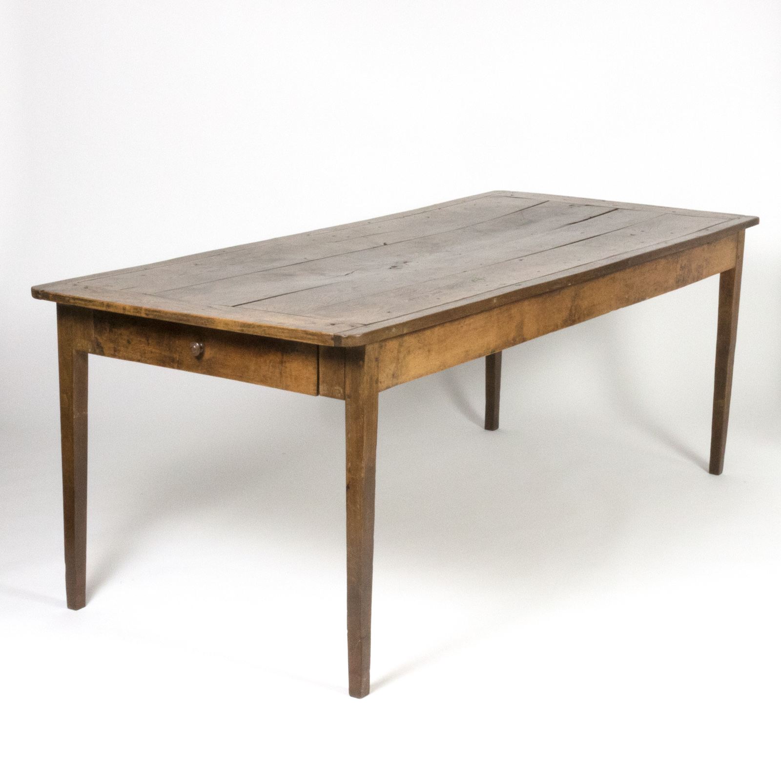 Farmhouse Kitchen Table With Drawers: A Rare Elmwood Vintage Farmhouse Table, 19th C. 415 355-1690