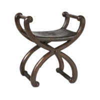 Garden Court Antiques, San Francisco - Spanish Walnut Baroque Revival Curule Form Bench With Embossed Leather Seat Depicting A Soldier, Circa 1820