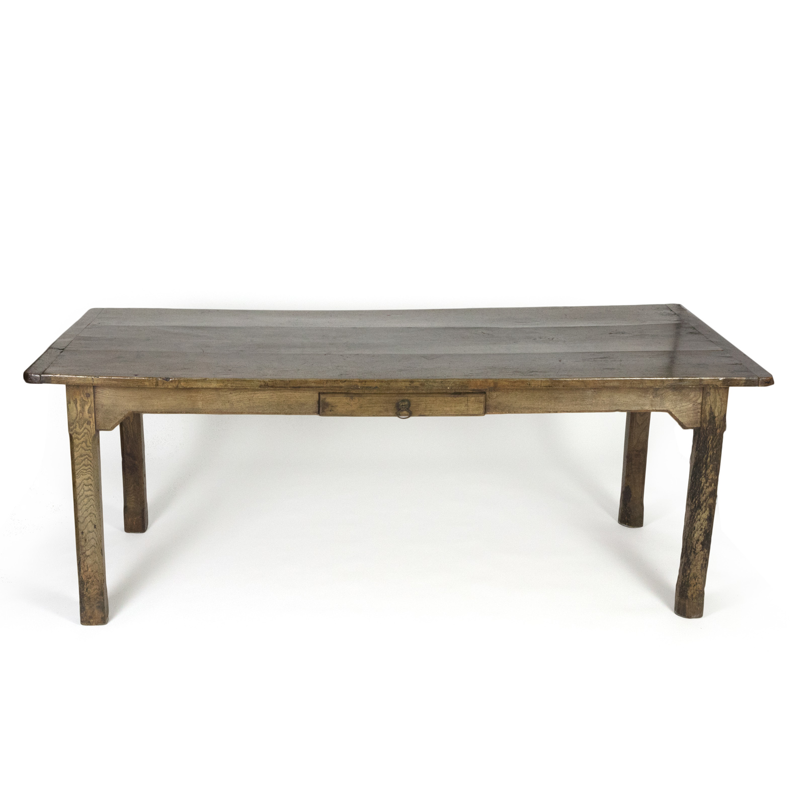 Garden Court Antiques San Francisco Large English Fruitwood Farm Table With Single Side Drawer