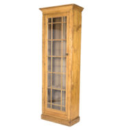 Tall and Narrow Charming Irish Pine Display Cabinet with a Single Mullioned Glass Door
