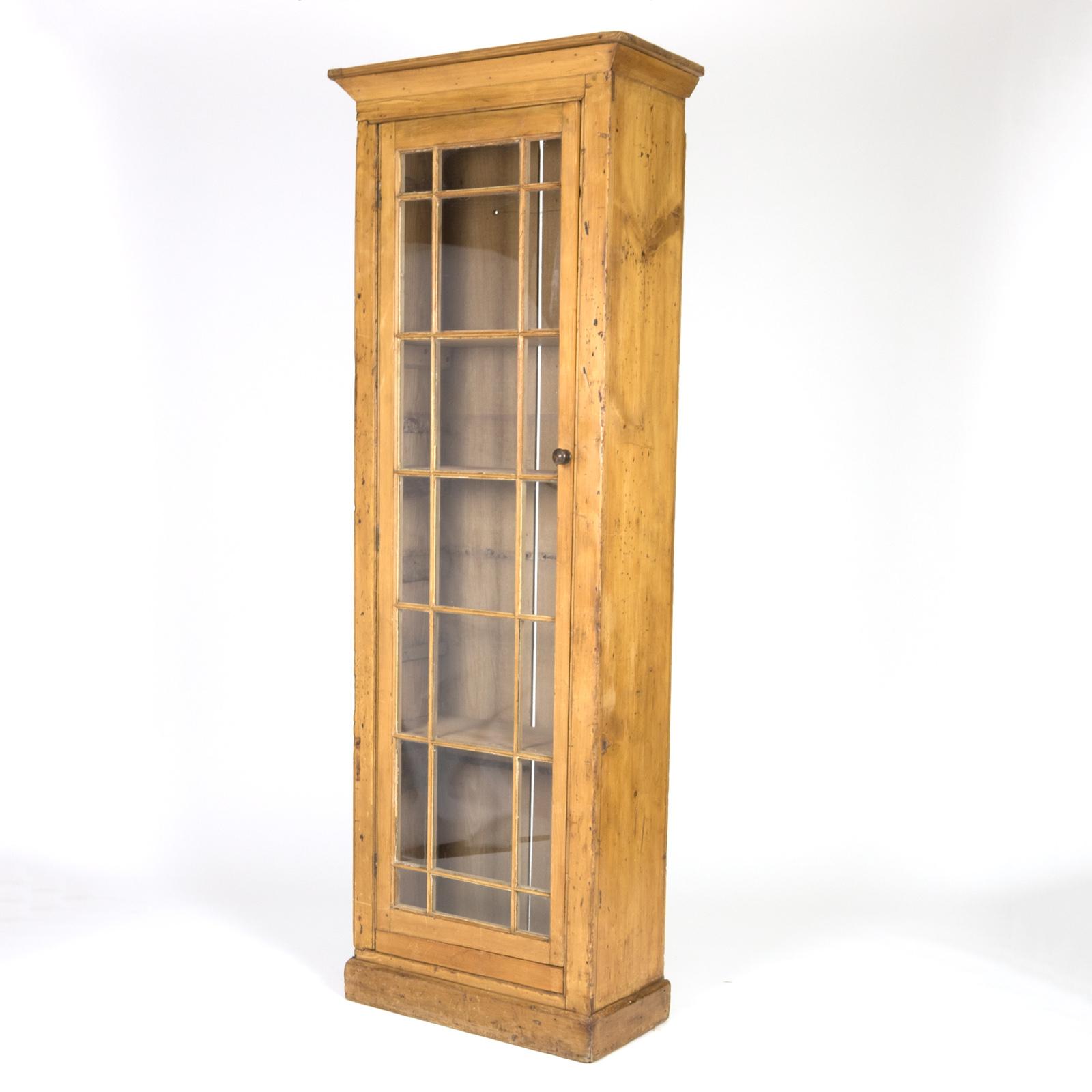 Vintage Narrow Pine Display Cabinet, 20th Century, Irish. 20 20 20