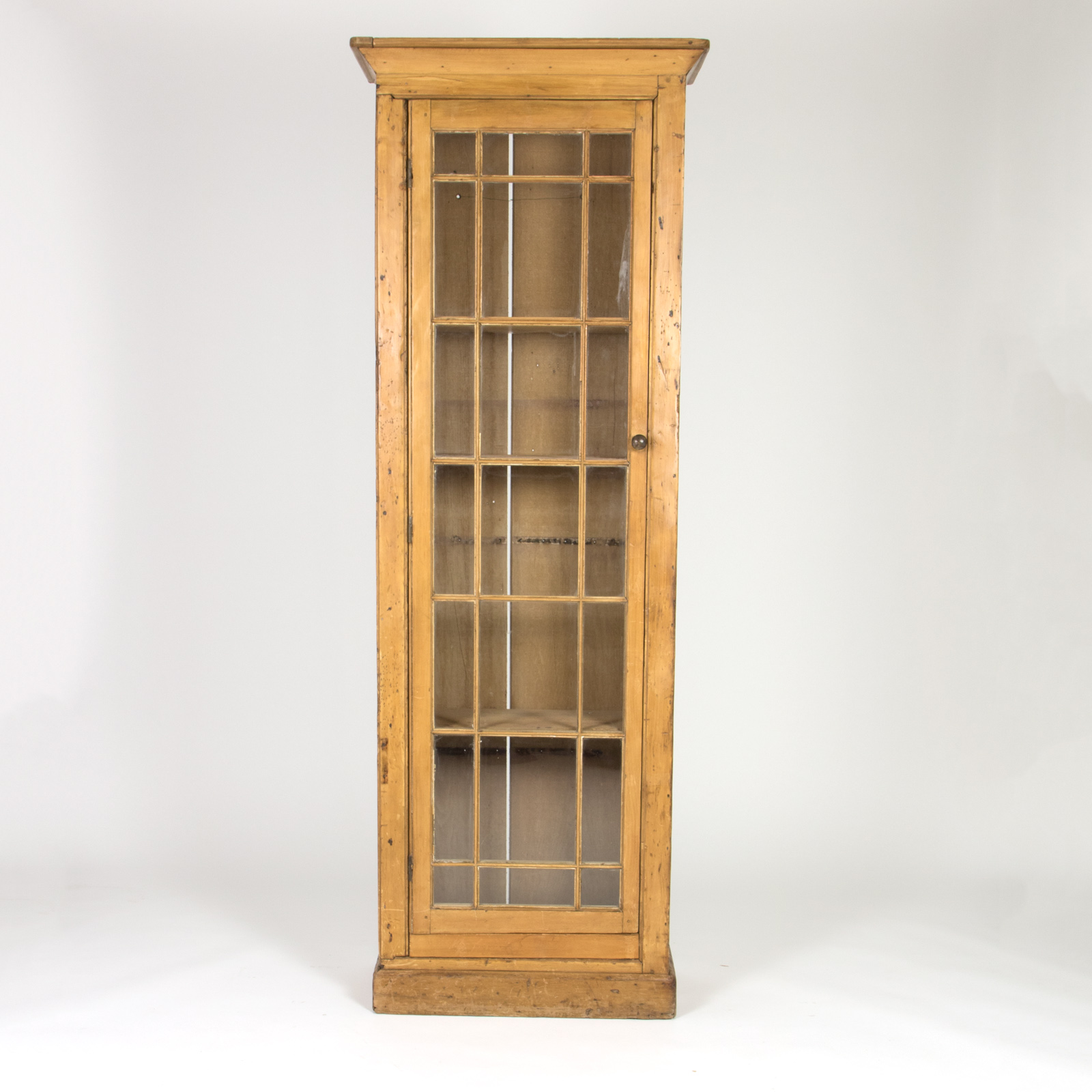 Vintage Narrow Pine Display Cabinet 19th Century Irish