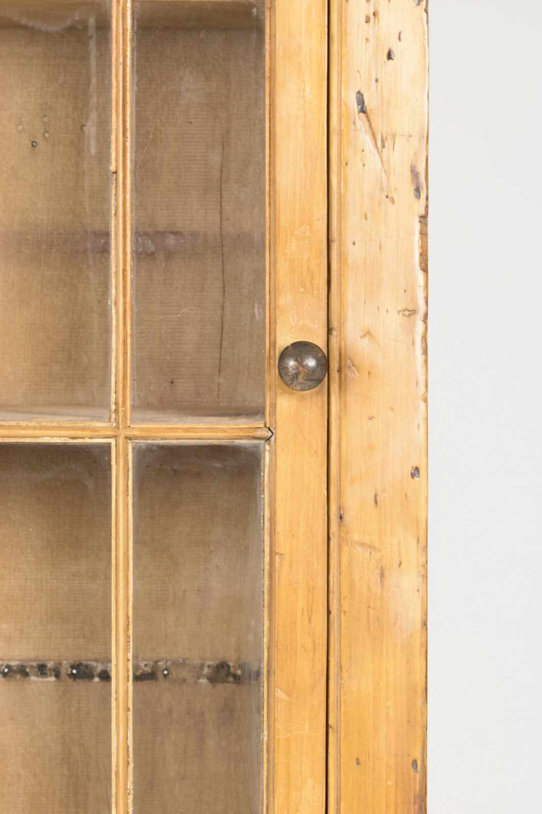 Garden Court Antiques, San Francisco  Tall And Narrow Charming Irish Pine  Display Cabinet With