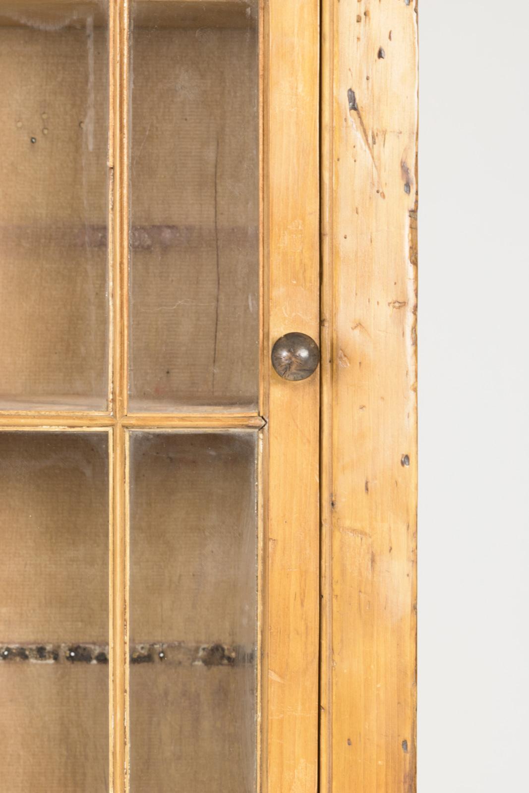 Vintage Narrow Pine Display Cabinet 19th Century Irish 415 355 1690