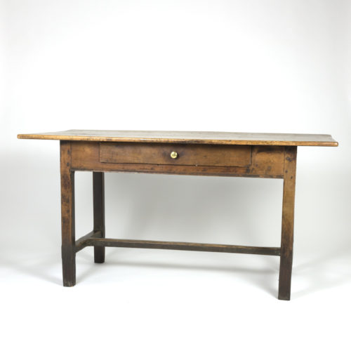 Garden Court Antiques, San Francisco -Rustic English Fruitwood Writing Table With Single Drawer, Circa 1840.