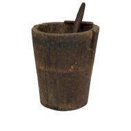 Massive and Primitive Carved Chestnut Mortar With Pestle, French Circa 1800