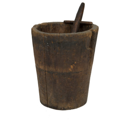 Garden Court Antiques, San Francisco -Massive and Primitive Carved Chestnut Mortar With Pestle, French Circa 1800