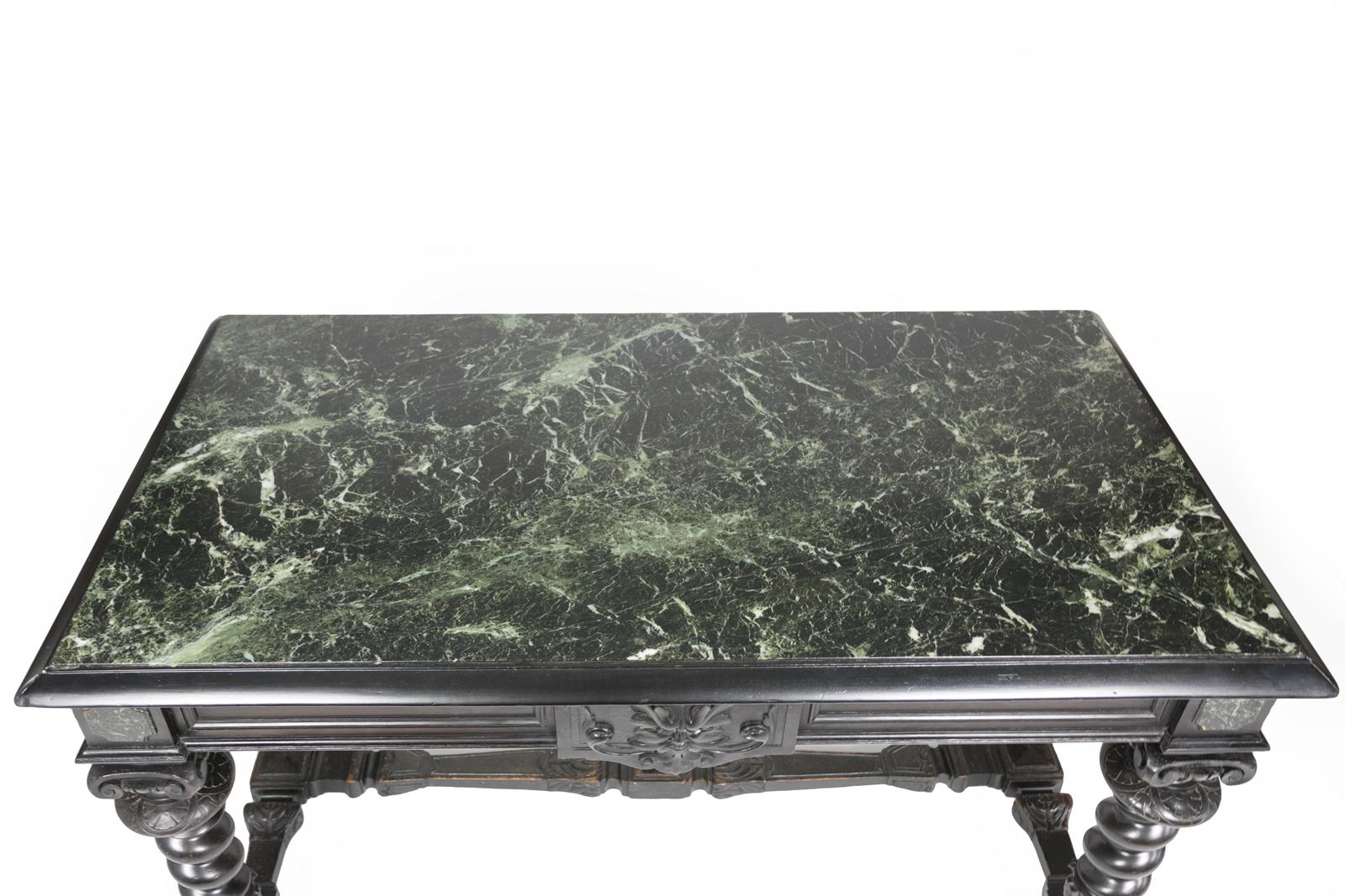 Excellent Baroque Inspired Ebonized Antique French Bureau Plat 415 355-1690 OX09