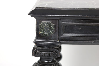 Inset serpentine marble detail on a Baroque Inspired Antique Ebonized French Bureau Plat; Circa 1880 Garden Court Antiques, San Francisco