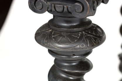 Volute detail , egg and dart, floral carving detail of a Baroque Inspired Antique Ebonized Barley Twist Bureau Plat French Circa 1880 Garden Court Antiques, San Francisco