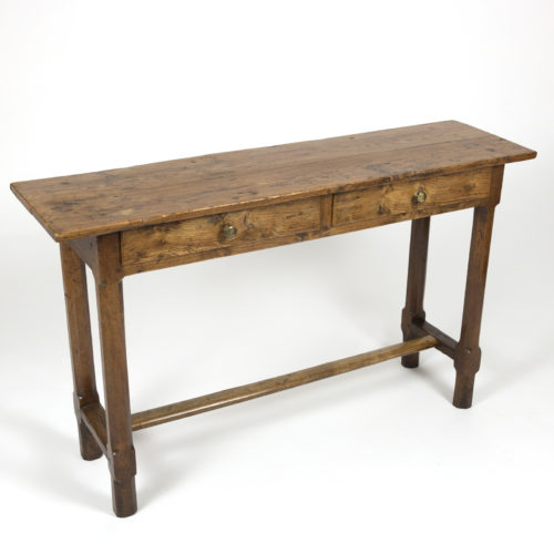Antique ElmWood Server With Two Drawers, Chamfer Legs, H-Stretcher; English Circa 1860 at Garden Court Antiques, San Francisco