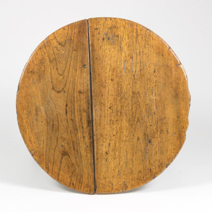 Round Plank Top of a Cricket Table With Triangular Stretchers, English Circa 1840 Garden Court Antiques, San Francisco