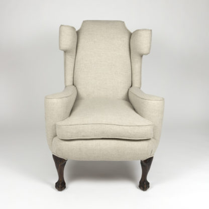 Large Scale English Wing Chair With Mahogany Frame, Carved Mahogany Ball And Claw Feet, Circa 1870 Garden Court Antiques, San Francisco