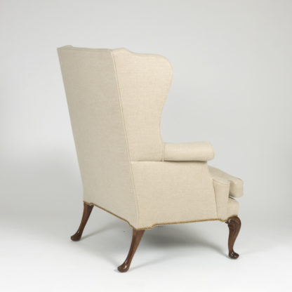 Handsome Mahogany Frame Upholstered Wing Chair With Rams Head Carved Legs, English Circa 1880. Garden Court Antiques, San Francisco
