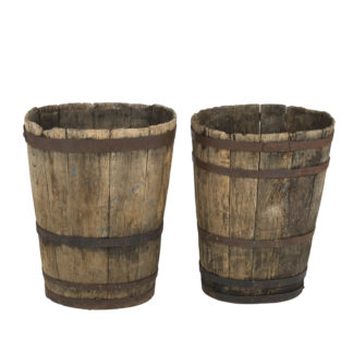 A Companion Pair of Weathered Metal-Strapped French Oak Barrels, circa 1870. Garden Court Antiques, San Francisco