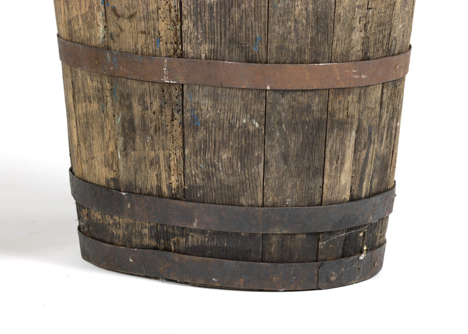 A Companion Pair Of Weathered Metal Strapped French Oak Barrels, Circa  1870. Garden